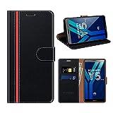 COODIO Huawei Y5 2018 Hülle Leder, Honor 7S Kapphülle Tasche Leder Flip Cover Schutzhülle Rugged für Huawei Y5 2018 / Honor 7S Handyhülle, Schwarz/Rot