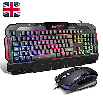 Gaming KeyboardUK Layout GK806 Rainbow LED Backlit Wired Keyboard 7 Button Optical Mouse USB Gaming Keyboard and mouse Combo Set for PC Laptop