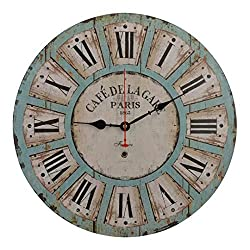 Old Oak 16-Inch Vintage Large Decorative Wall Clock Silent Non-Ticking Round for Kitchen Living Room Bathroom Bedroom Wall Home Decor with Roman Numerals