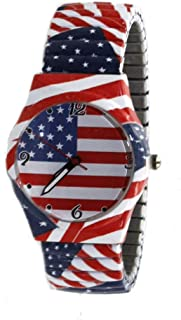 Ladies USA Flag Printed Stretch Band Watch with Crystal Bezel