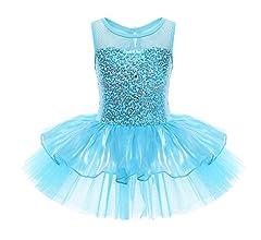 Hularka Kids Girls Sequined Camisole Ballet Dance Mesh Tutu Dress Gymnastics Leotard Ballerinas Dancing Costume
