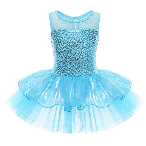 iEFiEL Mädchen Kleid Ballettkleid Kinder Ballett Trikot Ballettanzug mit Tütü Röckchen Pailletten Kleid in Weiß Rosa Türkis (134-140, Blau)