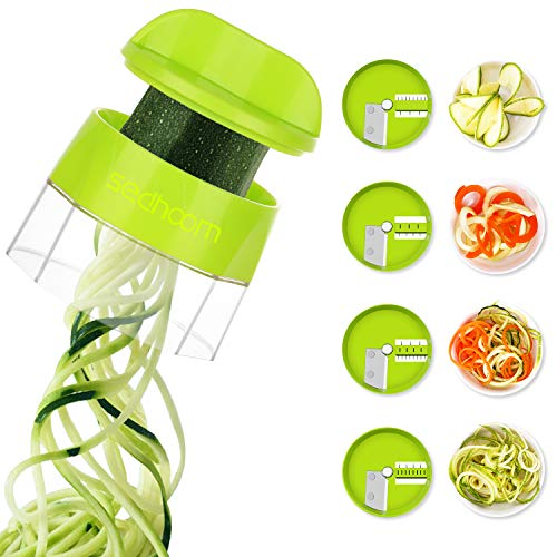 4 in 1 Spiralizer Hand Held Sedhoom Vegetable Spiralizer Handheld Upgrade Spiral Slicer Zucchini Noodle & Veggie Pasta & Spaghetti Maker for Low Carb/Paleo/Gluten-Free Meals