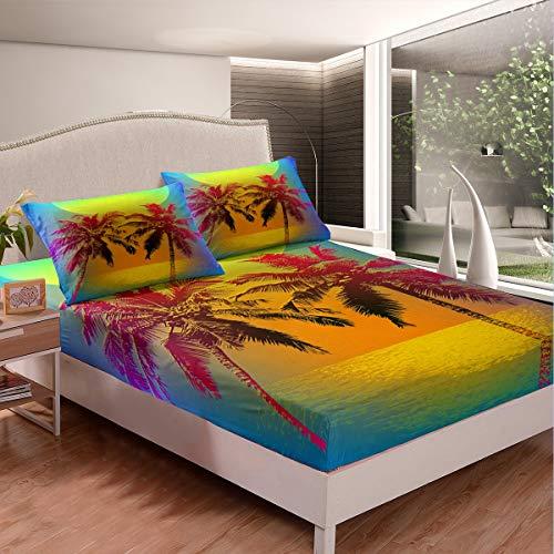 Tbrand Juego de cama de palmera con olas de puesta del sol del océano, juego de sábanas para niños, niñas, playa, naturaleza, sábanas, botánica, colección de dormitorio, 3 unidades de tamaño doble