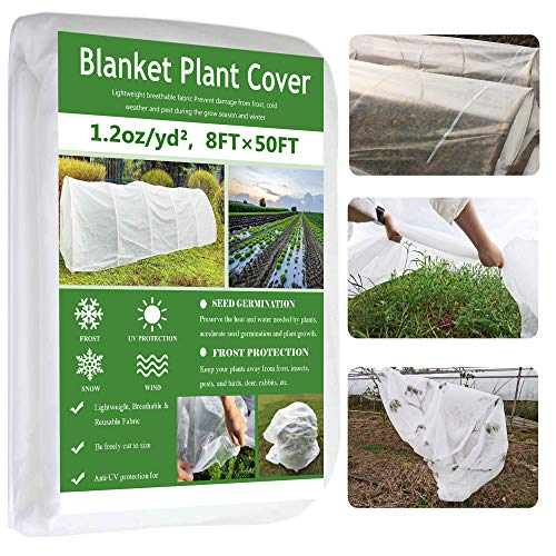 Garden EXPERT Plant Covers Freeze Protection Floating Row Cover Thickened 1.2oz Fabric Frost Cloth Plant Blanket for Plants & Vegetables in Winter(8FTx50FT)