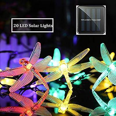 MZD8391 Solar String Lights, 20 LED Dragonfly String Lights, Waterproof Decorative String Lights for Patio, Garden, Gate, Yard, Party, Wedding (Solar Dragonfly Light)