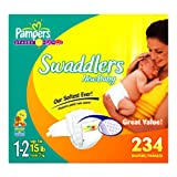 Pampers Swaddlers Diapers, Size 1-2, 234 Count