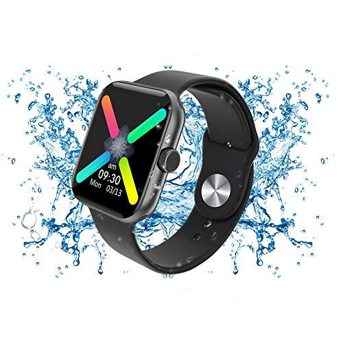 Reloj inteligente negro premium, rastreadores de actividad física con pantalla táctil IPS de 1,54 'con monitor de sueño, cronómetro con podómetro IP67 resistente al agua para hombres y niños