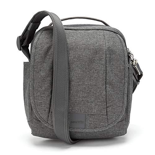 Pacsafe Metrosafe LS200 Anti-Diebstahl Nylon Umhängetasche für Damen und Herren, Schultertasche mit Diebstahlschutz, Tasche mit Sicherheits-Features - 7 L Uni, Grau Meliert/Dark Tweed