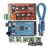 Homyl Kit de Contrôleur D'imprimante 3D Mega2560 Board + RAMPS1.4 + A4988