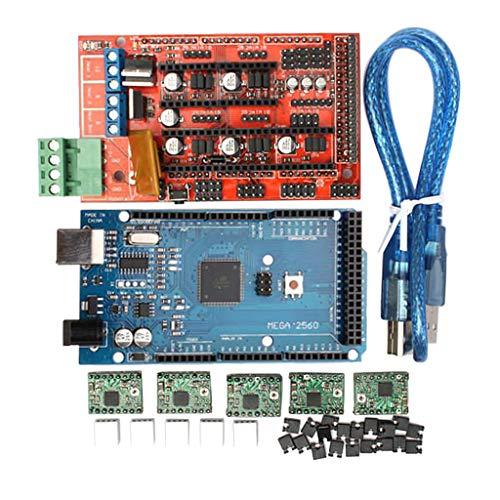Homyl 3D-Printer Zubehörsatz MEGA 2560 Motherboard Controller Board mit RAMPS 1,5 Erweiterungskarte, A4988 Schrittmotortreiber, USB-Kabel und Kühlkörper