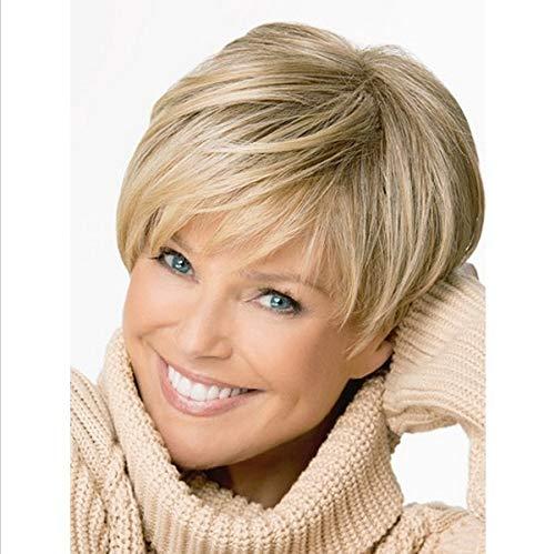 Kurze, blonde Perücke, hitzebeständig, blondes Kunsthaar, Perücke, charmant, super natürliches Echthaar, kurzes blondes Haar mit schwarzer Wurzel