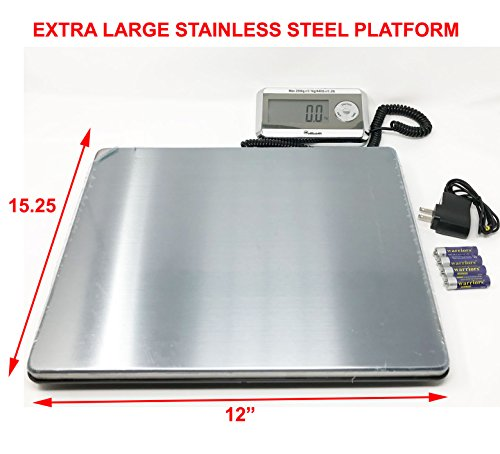 Weighology Heavy Duty Digital Postal Parcel Scale UPS Post Office Scale (430 Lb Large Stainless Steel Platform)