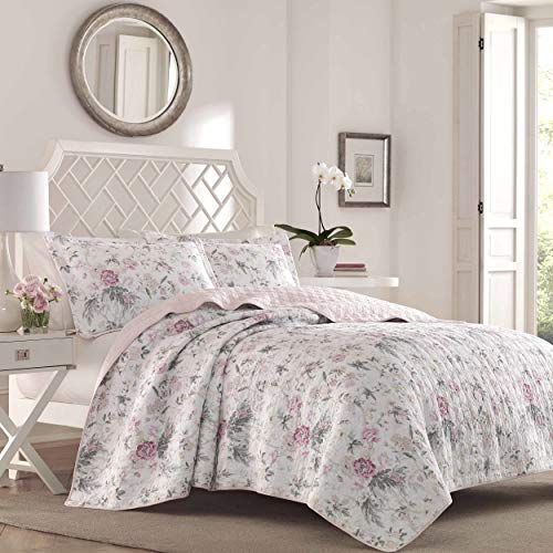 Laura Ashley Home | Breezy Floral Collection | Luxury Premium Ultra Soft Quilt Coverlet, Comfortable 3 Piece Set, All Season Stylish Bedspread, Full/Queen, Pink and Grey