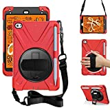 ZenRich iPad Mini 5 Case 2019 iPad Mini 4 Case 2015 zenrich Heavy Duty Shockproof Rugged Case with Pencil Holder Kickstand Hand Strap Carrying Shoulder Belt for iPad 7.9 inches Tablet, Red