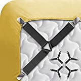 Ad Fresh Single Bed Sheet Holder Straps Criss-Cross Sheet Straps Suspenders/Adjustable Elastic Sheet Clips Fits from Twin to Queen to California King (Multicolour)