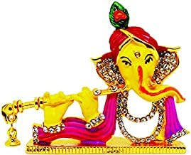 Saubhagya Global Vinay God Ganesha 5.5CM (Yellow) Gold Plated Idol/Murti/Statue Decorative Showpiece Gift Item for Car Das...