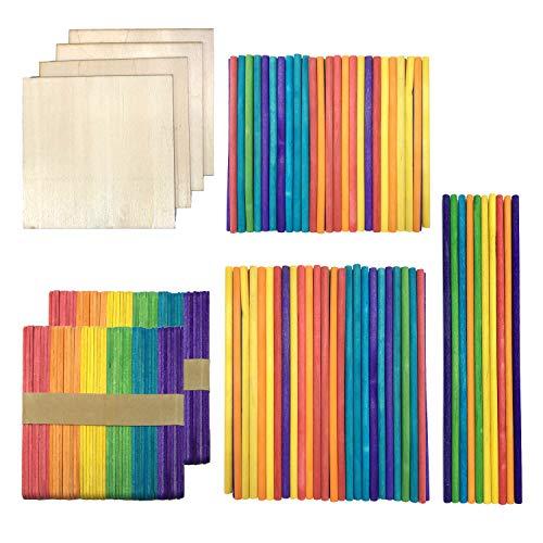 DOITEM 214 PCS Palos de paletas de palitos de madera de artesanía de madera natural Hojas de madera de balsa Paleta de paleta de arte de paleta lisa Perfecto para artículos de artesanía