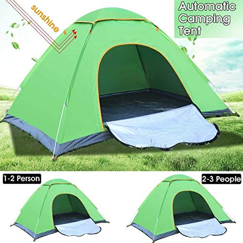 Waterproof Automatic Tent UV Sun Protection Lightweight Single Tent Foldable Outdoor Beach Camping Tent 1-2/2-3 Person Water-Resistant Ventilated and Durable (Color : 1-2 Person)