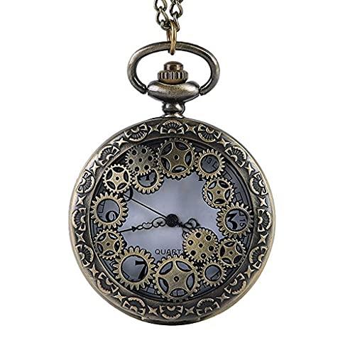 XXCHUIJU Reloj Retro Engranaje Hueco Bronce Bronce Reloj Vintage Hombres Mujeres Colgante Collar Fob Reloj Regalos Reloj para Hombres Mujeres