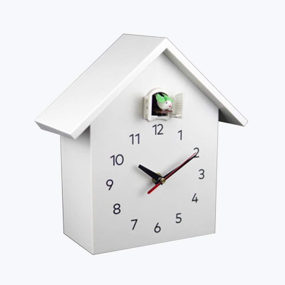 Cuckoo Clocks Cuckoo Clock Kookoo Birdhouse White Wall Clock With 12 Natural Bird Voices Or Cuckoo Modern Design Songbird Clock With Pendulum German Cuckoo Clock Home