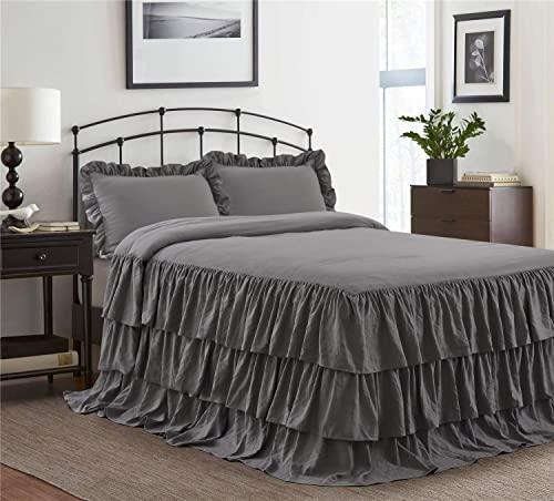 HIG 3-teiliges Bettwäsche-Set mit Rüschenrock, Tagesdecke, 76,2 cm lang, gerüschter Stil, Bettüberwurf, Staub-Rüschen, Echo-Bettüberzug, Queen-Size-Größe – 1 Tagesdecke, 2 Standard-Kissenbezüge.