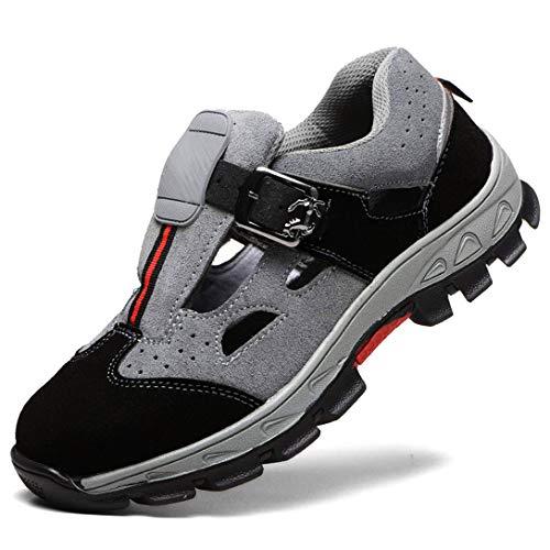 WODEQ Damen Herren Sicherheitsschuhe S3 Arbeitsschuhe Sandalen Cool Atmungsaktiv Schutzschuhe mit Stahlkappe,Gray,42EU
