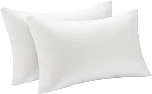 popular Giantex 2 Pack Shredded Memory Foam Pillows, Cooling Bed Pillow with Zippered Washable Bamboo Case Cover for new arrival Back and Side Sleepers sale Queen Size (Queen) sale