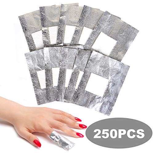 ECBASKET Nail Polish Remover Gel Polish Remover Soak Off Foils 250pcs Gel Nail Polish Remover Wrap Foils with Lager Cotton Pad Nail Gel Remover Tool
