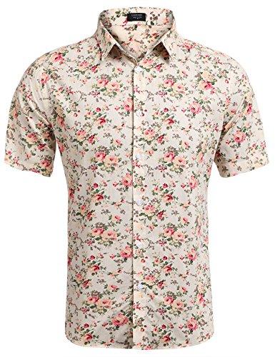 Burlady Herren Sommer Kurzarmhemd Blumenprint Hawaiihemd Hawaiishirt Freizeithemd Urlaub Hawaii-Print Gr:-M, Farbe:-Beige