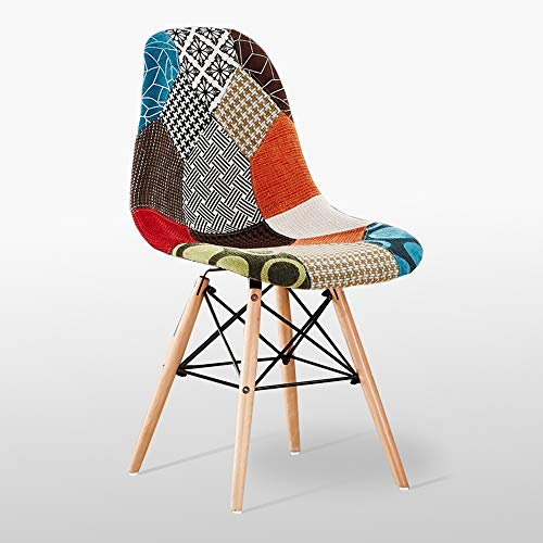 Life Interiors : Patchwork Dining Chair | Retro Office Chair with Padded Fabric Seat | Vintage Chair | Desk Chair | Dressing Chair | Multi Coloured Linen Fabric | (1)