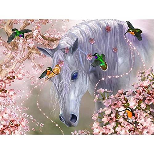 Diy 5d Pintura Diamante Completo Taladro Kit Pájaros del caballo Diamond Painting Imagen Rhinestone Bordado De Punto De Cruz Lienzo Arte DecoracióN De Pared Del Hogar Regalo Round Drill,40x60c