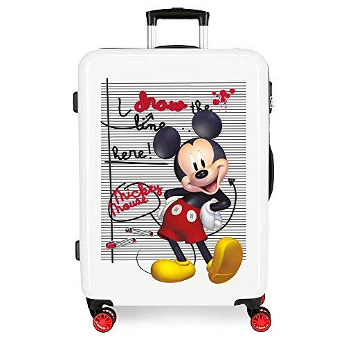 Disney Mickey Draw The Line Maleta Mediana Rojo 48x68x26 cms Rígida ABS Cierre combinación 70L 3,7Kgs 4 Ruedas Dobles