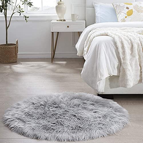 DAOXU Kunstfell Pelz Stuhl, Sitz Pad Shaggy Bereich Teppiche für Schlafzimmer Sofa Boden Home Decorator Teppiche Kinder Spielen Teppich Matte Teppich (Grau, 30cm runde)