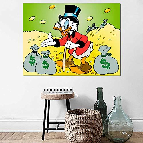 YuanMinglu Onkel mit münze Geld Poster leinwand wandkunst Bild Druck raumdekoration Familie Moderne Kunst rahmenlose malerei 24x30 cm