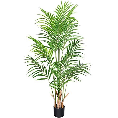 CROSOFMI Künstliche Pflanze Palmen 140 cm Kunstpflanze Plastik Groß Areca Palme im Topf Wohnzimmer Balkon Schlafzimmer Grün Deko (1 PACK)