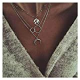 Edary Boho Layered Necklace Moon Necklaces Map Pendant Silver Jewelry for Women and Girls.