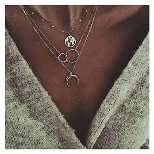 Edary Boho Layered Necklace Moon Necklaces Map Pendant Silver Jewelry for Women and Girls. (Silver)