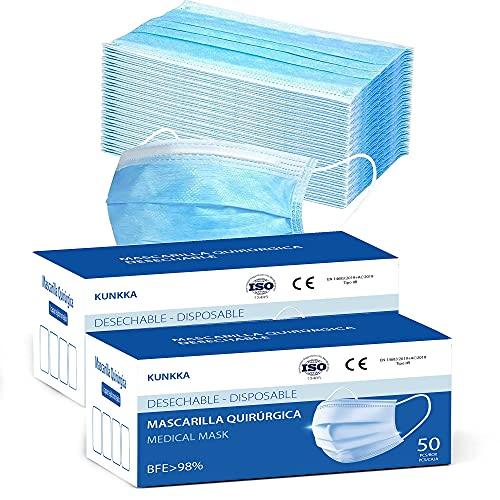 PACK 100 Mascarillas Quirurgicas Homologadas Desechables Tipo IIR con 3 Capas de Tejido no Tejido BFE ≥ 98% Directiva 93/42/CEE Clase 1. Mascarilla quirurgicas certificada/homologada (Azul)