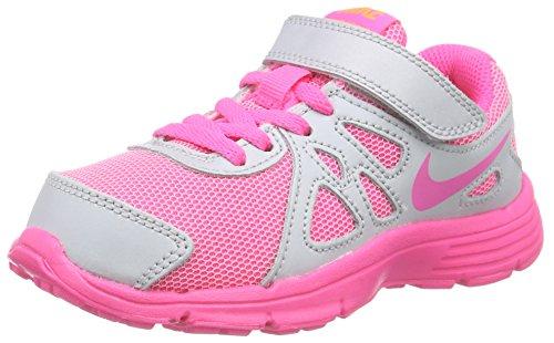 Nike Mädchen Revolution 2 PSV Laufschuhe, Mehrfarbig (Metallic Platinum/Pink Pow/White/Bright Orange), 33 EU