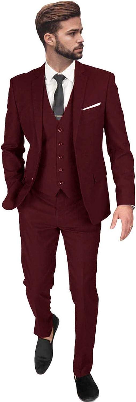 FAIOKAVER Men's Suits Big and Tall Regular Fit 3 PCS Wedding Tuxedo Suits