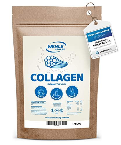 Collagen Pulver 500g - Kollagen Hydrolysat Peptide - Eiweiß-Pulver Geschmacksneutral - Wehle Sports - Made in Germany Kollagen Typ 1 2 3 Lift Drink