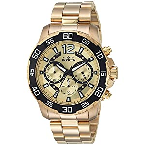 Invicta Men's Pro Diver Quartz Watch with Stainless-Steel Strap, Gold, 22 (Model: 22715)