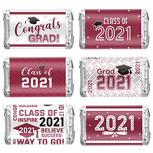 90 Piezas Pagatinas Etiquetas Decorativas de Graduación de 2021 Suministros de Fiesta de Class of 2021 Envoltorio de Barra de Caramelo Mini de Felicitaciones (Amaranto y Blanco)
