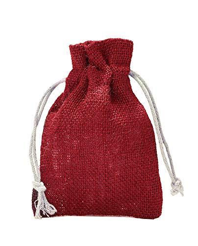 10 Jutesäckchen, Jutebeutel mit Baumwollkordel, Größe:  30x20 cm, 100% Jute, Winter-Topfschutz, Dekoration, Jute-Geschenkverpackung, Aufbewahrung (Rot)