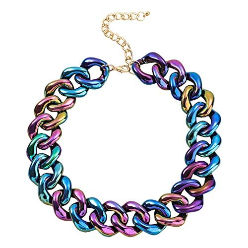 Hellery Collar de clavícula Fuerte Minimalista Exquisito clásico a la Moda Estilo Punk para Mujeres Estilo Fsahion - Azul