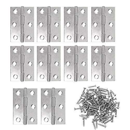 JZK 10 x Edelstahl Scharniere Steckverbinder 63mm + 60 x Schrauben, Hintern Scharniere für Küche, Schlafzimmer, Bad Kabinett Schrank Kleiderschrank Bücherregal