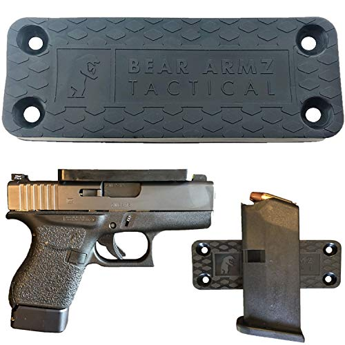 Gun Magnet Mount & Holster For Vehicle And Home I Rubber Coated w/ Adhesive Backing I 35 Lbs Rated I Firearm Accessory I Concealed Holder For Handgun, Shotgun, Pistol, Truck, Car, Wall, Vault (1)