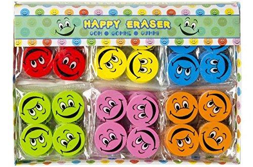 Schnooridoo 24 x Bunte Smiley Radiergummi Eraser Lach Gesichter 6 Farben Kindergeburtstag Give Away