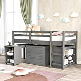 Twin Low Loft Bed for Kids Study with Rolling Portable Desk/Storage Shelf/Guard Rail/Cabinet of Drawers for Bedroom and Dormitory (Gray)